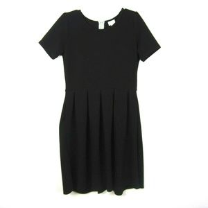 LuLaRoe Amelia Pleated Dress XL Solid Black LikeNu